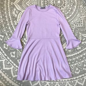 Lilac Ribbed Knit Skater Dress with Flare Sleeves
